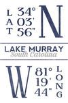 Lake Murray, South Carolina - Latitude & Longitude (Blue) - Lantern Press Artwork