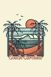 South Carolina - Palm Trees & Beach Scene - Block Lines - Contour - Lantern Press Artwork