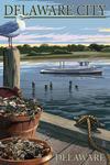 Delaware City, Delaware - Blue Crab & Oysters on Dock - Lantern Press Artwork