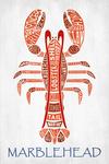 Marblehead, Massachusetts -  Red Lobster - Typography - Lantern Press Artwork
