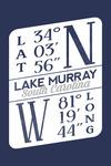 Lake Murray, South Carolina - Latitude & Longitude - Contour - Lantern Press Artwork