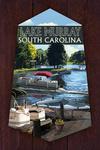 Lake Murray, South Carolina - Pontoon Boats - Contour - Lantern Press Artwork