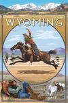 Wyoming - Rodeo Cowboy Montage - Lantern Press Artwork