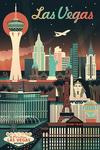 Las Vegas, Nevada - Retro Skyline Chromatic Series - Lantern Press Artwork