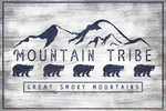 Great Smoky Mountains - Mountain Tribe - Black Bear & Mountains - Rustic - Lantern Press Artwork