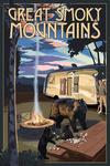 Great Smoky Mountains - Retro Camper & Lake with Bear Family - Lantern Press Artwork