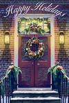 Christmas Door - Happy Holidays - Lantern Press Artwork