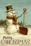 Merry Christmas - Snowman - Christmas Oil Painting - Lantern Press Artwork
