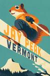 Jay Peak, Vermont - Animal Activities Series - Ski Squirrel - Lantern Press Artwork
