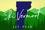 Jay Peak, Vermont - Ski - State Silhouette & Mountains - Blue on Green Forest - Lantern Press Artwork