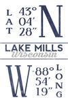 Lake Mills, Wisconsin - Latitude & Longitude (Blue) - Lantern Press Artwork