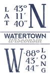 Watertown, Wisconsin - Latitude & Longitude (Blue) - Lantern Press Artwork