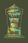 Adventure Awaits - Lantern - Distressed Vector - Lantern Press Artwork