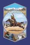Wyoming - Rodeo Cowboy Montage - Contour - Lantern Press Artwork