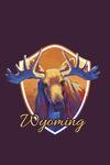 Wyoming - Moose - Vivid - Contour - Lantern Press Artwork