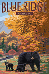 Blue Ridge, Georgia - Bear Family & Fall Colors - Lantern Press Artwork
