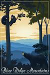 Blue Ridge Mountains - Black Bear at Sunset - Lithograph - Lantern Press Artwork