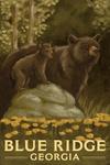 Blue Ridge, Georgia - Black Bears - Oil Painting - Lantern Press Artwork