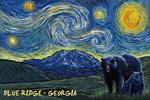 Blue Ridge, Georgia - Grizzly Bear & Cub - Starry Night - Lantern Press Artwork