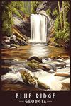 Blue Ridge, Georgia - Quiet Waterfall - Lantern Press Artwork