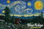 Blue Ridge, Georgia - Van Gogh Starry Night - Bigfoot - Lantern Press Artwork