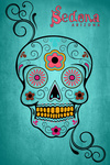 Sedona, Arizona - Sugar Skull - Turquoise Background - Lantern Press Artwork