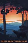 Great Smoky Mountains - Black Bear Family - Sunset - Lantern Press Artwork