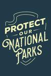 Protect Our National Parks - Contour - Blue - Lantern Press Artwork