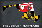 Frederick, Maryland - State, Heart, and Flag Design - Lantern Press Artwork