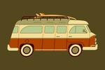 Camper Van with Surfboard - Geometric - Lantern Press Artwork