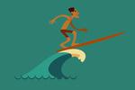 Man Surfing - Geometric - Lantern Press Artwork