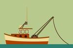 Tug Boat - Geometric - Lantern Press Artwork