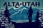 Alta, Utah - Skier & Mountain - Lantern Press Artwork