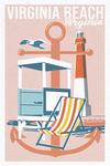Virginia Beach, Virginia - Anchor - Lifequard Shack - Lighthouse - Lantern Press Artwork