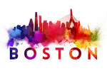 Boston - Skyline Abstract - Large Letters - Contour - Lantern Press Artwork