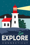 Connecticut - Go Explore (Lighthouse) - Vector Style - Lantern Press Artwork