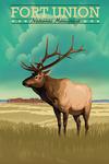 Fort Union, New Mexico - Elk - Lithograph - Lantern Press Artwork