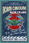 Outer Banks, North Carolina - Blue Crabs - Vintage Sign