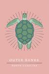 Outer Banks, North Carolina - Sea Turtle - Pink - Lantern Press Artwork