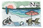 Outer Banks, North Carolina - Beach Scene - Sketch - Lantern Press Artwork