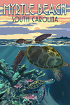Myrtle Beach, South Carolina - Sea Turtle Swimming - Lantern Press Artwork