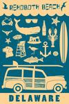 Rehoboth Beach, Delaware - Coastal Icons - Lantern Press Artwork