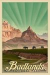 Badlands National Park, South Dakota - Bison in the Park - Lithograph National Park Series - Lantern Press Artwork