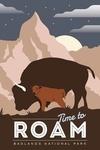 Badlands National Park, South Dakota - Time To Roam - Bison and Calf - Night Scene - Lantern Press Artwork