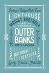 Outer Banks, North Carolina - Typography Coastal Series - Local Love - Light Blue - Lantern Press Artwork