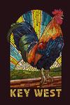Key West, Florida - Rooster - Paper Mosaic - Contour - Lantern Press Artwork