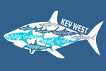 Key West, Florida - Sharks - Pattern - Shark Names - Contour - Lantern Press Artwork
