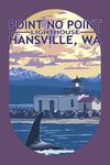 Hansville, Washington - Point No Point Lighthouse - Contour - Lantern Press Artwork