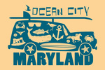 Ocean City, Maryland - Coastal Icons - Contour - Lantern Press Artwork