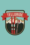 Telluride, Colorado - Skis and Mountains - Contour - Lantern Press Artwork